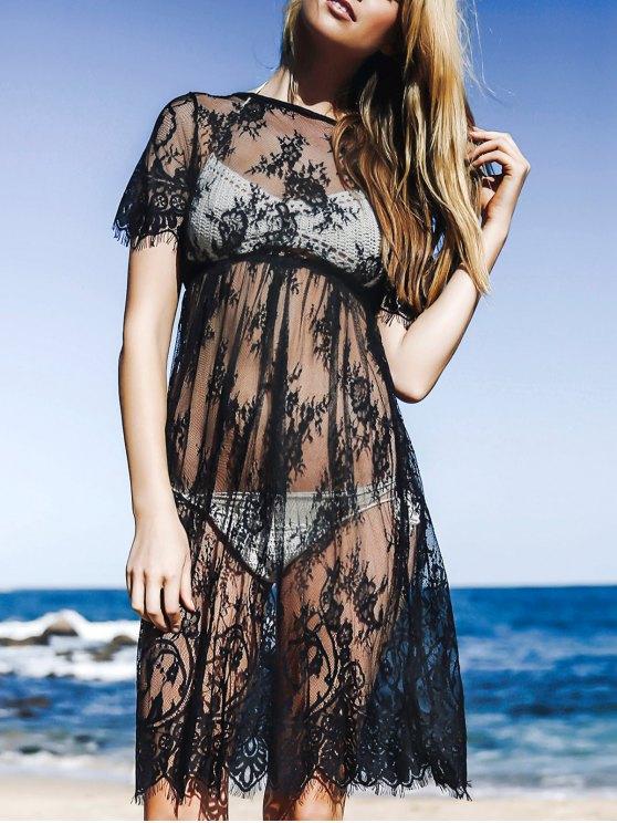 Ver-a través el vestido de encaje de manga corta cuello redondo - Negro L