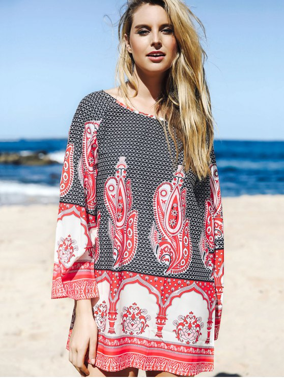 Flare Sleeve Printed Tunic Dress - COLORMIX S Mobile