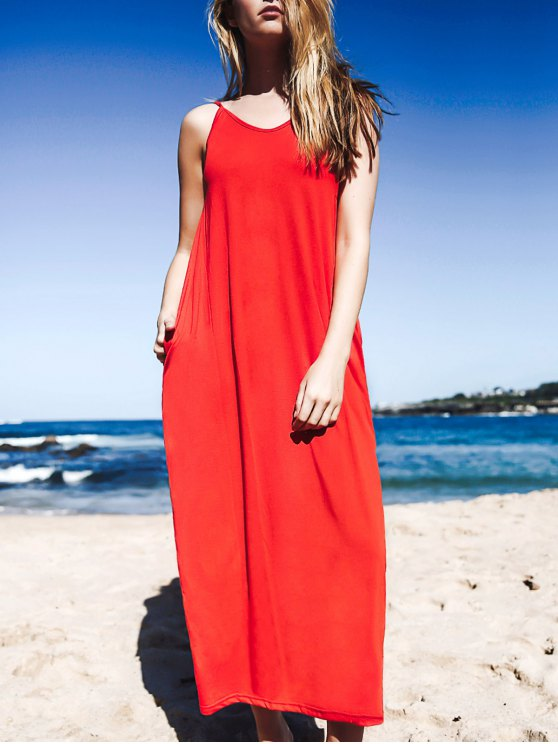 hot Baggy Style Maxi Tank Dress With Pockets - RED M