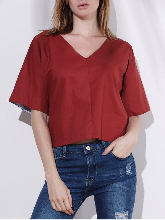 hot Pure Color Plunging Neck Half Sleeve Blouse - RED L