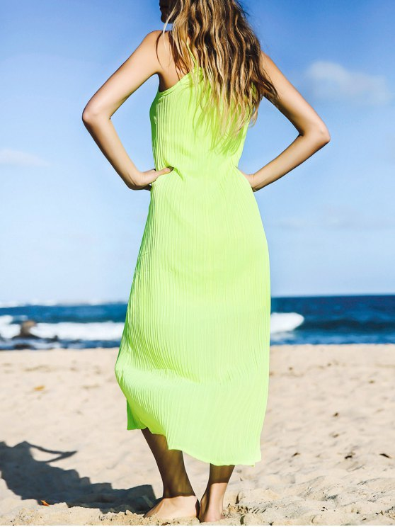 buy Solid Color Spaghetti Strap Sleeveless Maxi Dress - NEON GREEN ONE SIZE(FIT SIZE XS TO M)