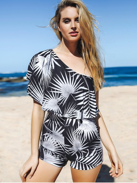Printed One Shoulder Romper - WHITE AND BLACK M Mobile