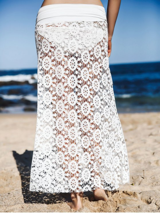Solid Color Lace Cover Up Skirt - WHITE L Mobile