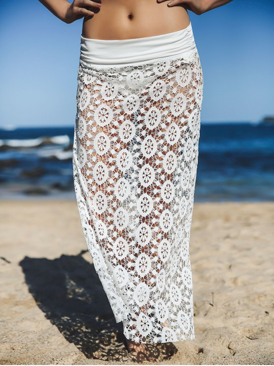 shops Solid Color Lace Cover Up Skirt - WHITE XL