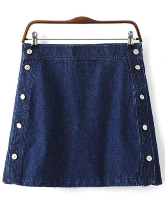 fancy Button Design Mini Denim Skirt - DEEP BLUE S
