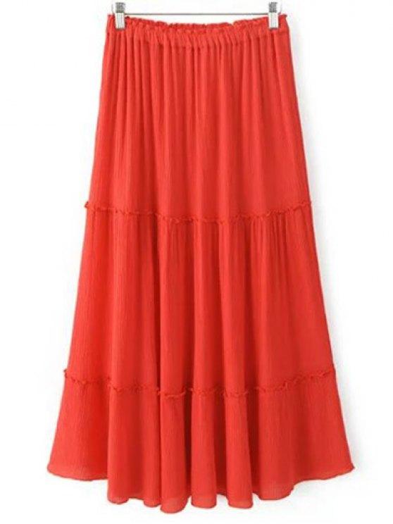 Rizado largo falda con gradas - Rojo S