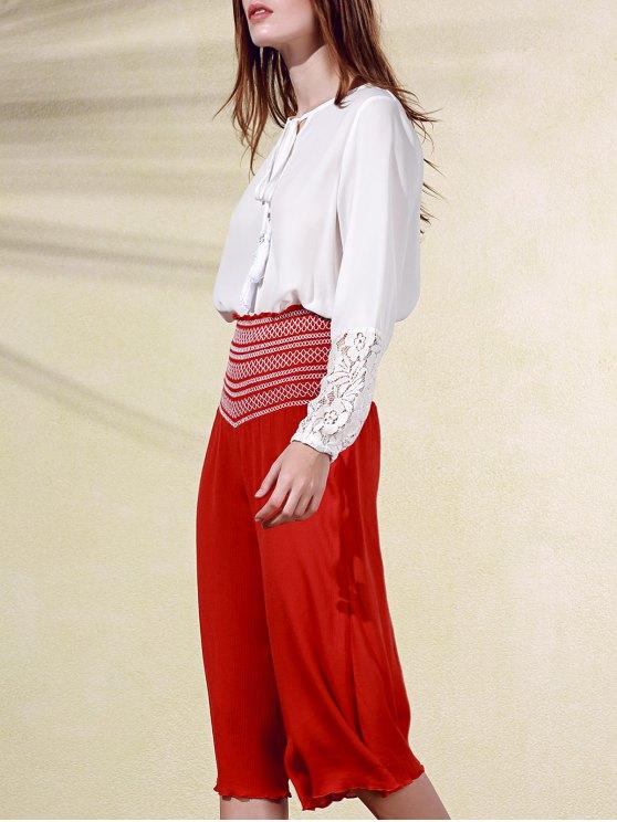 Bordado de la alta cintura de los pantalones noveno - Bermellón M