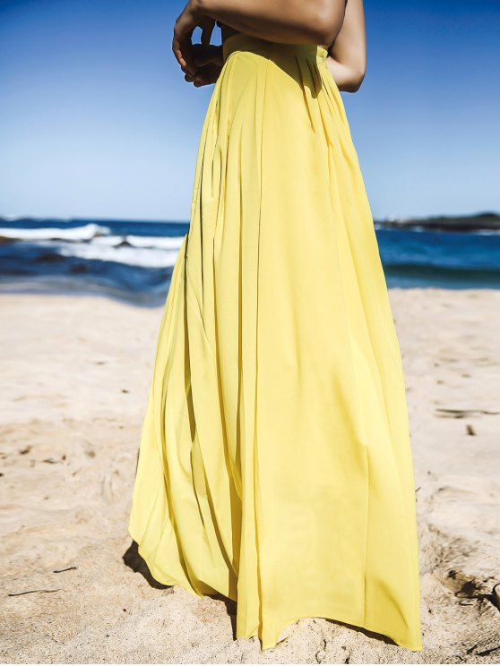 Yellow High Waisted Maxi Skirt - YELLOW S Mobile