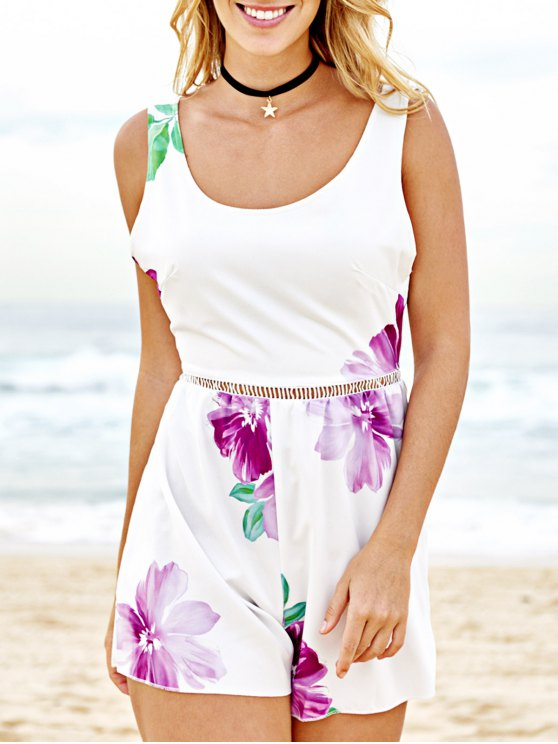 ladies Floral Print Sleeveless Beach Romper - WHITE S