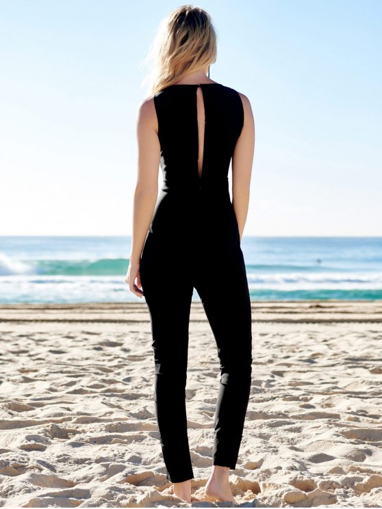 Jewel Neck Black Backless Sleeveless Jumpsuit -   Mobile