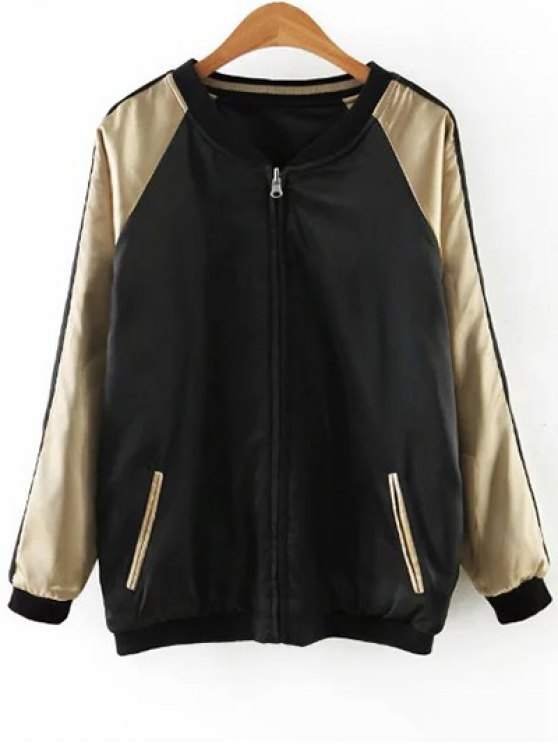 chic Embroidered Reversible Satin Bomber Jacket - BLACK AND GOLDEN XL