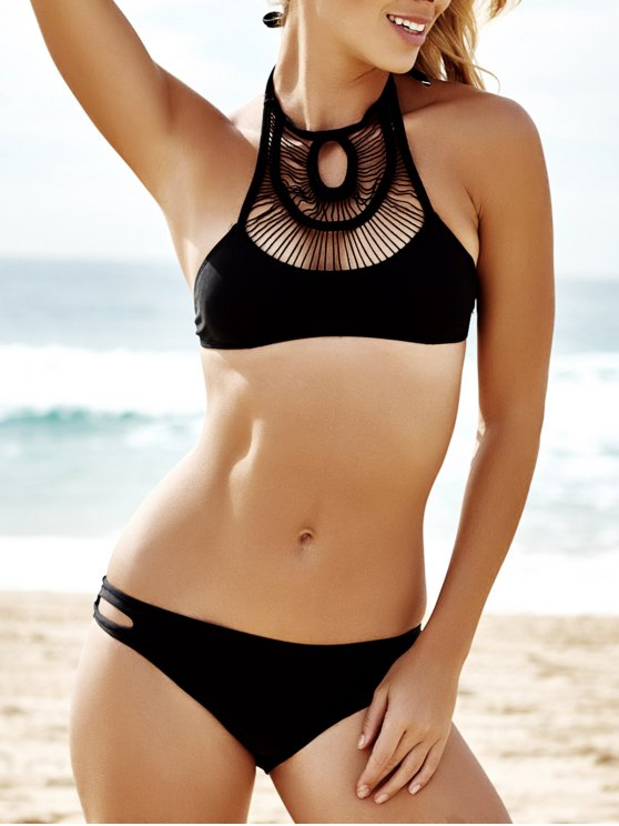 fashion Pure Color Hollow Out Bikini Set - BLACK M