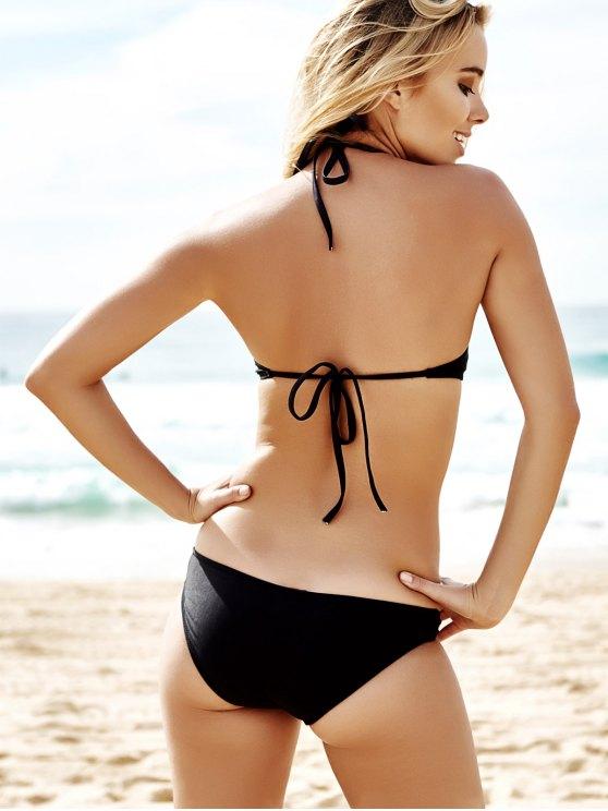 Pure Color Hollow Out Bikini Set - BLACK M Mobile