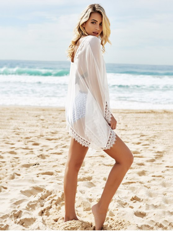 See-Through Lace Edging Half Sleeve Cover-Up - WHITE ONE SIZE Mobile