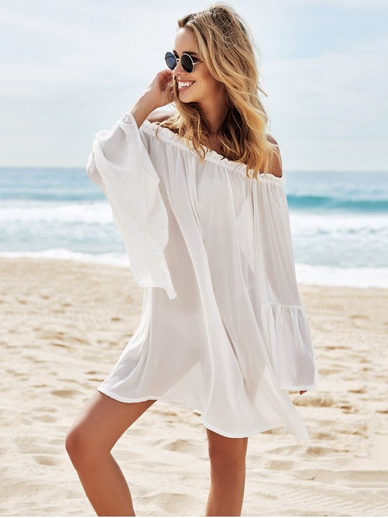 Slash Neck See-Through Solid Color Cover-Up - WHITE ONE SIZE(FIT SIZE XS TO M) Mobile