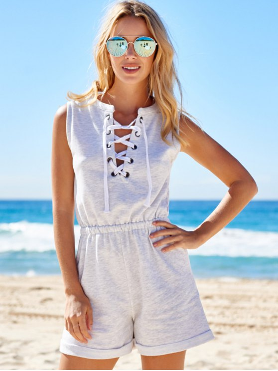 Sleeveless Lace-Up Playsuit - LIGHT GRAY M Mobile
