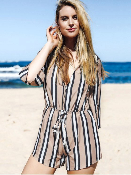 Striped Plunging Neck 3/4 Sleeve Drawstring Romper - KHAKI S Mobile