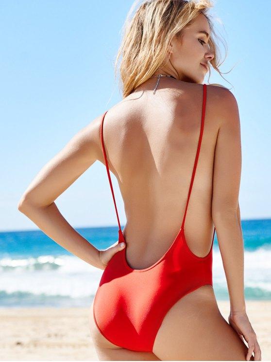 Monokini High Cut Backless One-Piece Swimwear - RED S Mobile