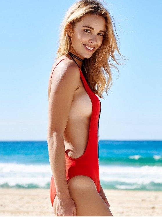 Monokini High Cut Backless One-Piece Swimwear - RED M Mobile