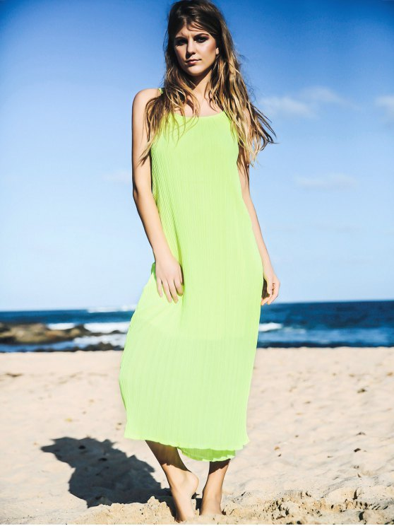 Solid Color Spaghetti Strap Sleeveless Maxi Dress - NEON GREEN ONE SIZE(FIT SIZE XS TO M) Mobile