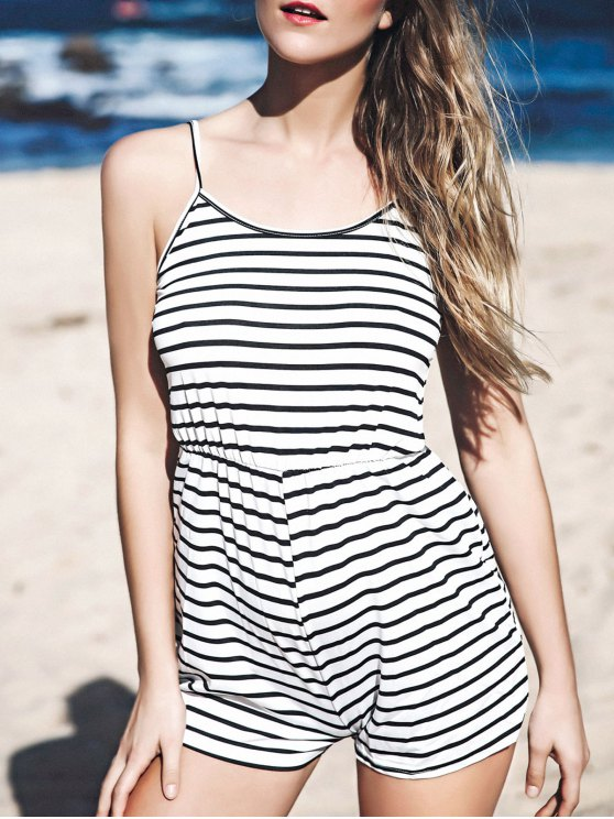 Stripes Spaghetti Straps Romper - STRIPE S Mobile