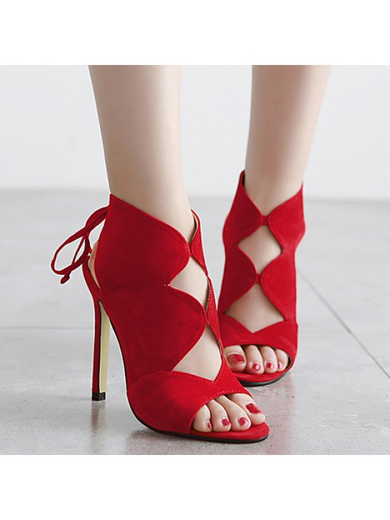 Cut Out Flock Stiletto Heel Sandals - RED 38 Mobile