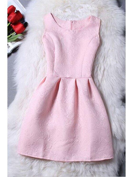 Jacquard sin mangas mini vestido - Rosa L