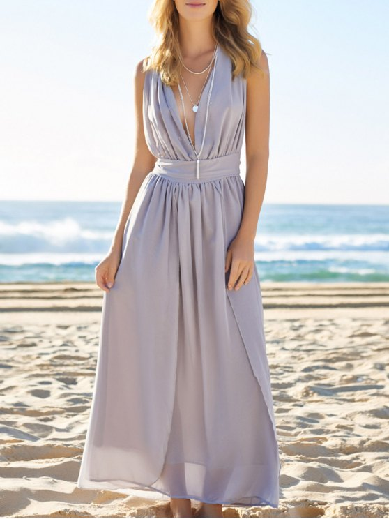 sale Plunging Neck Solid Color Maxi Dress - BLUE GRAY S