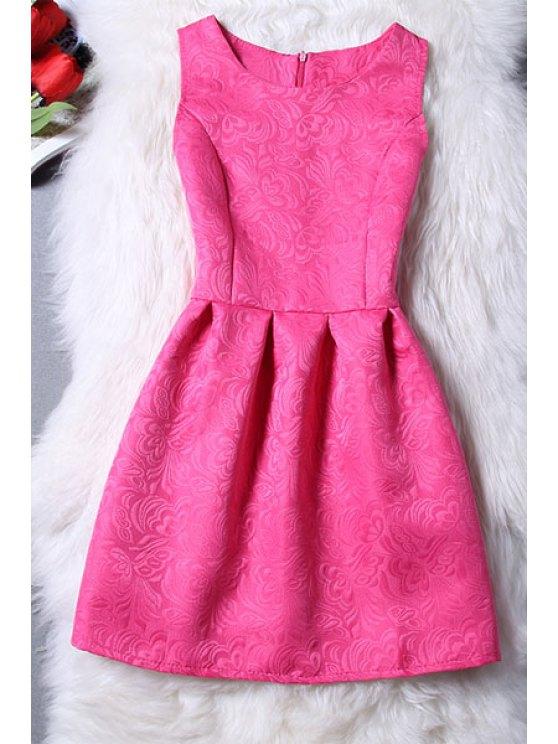 affordable Sleeveless Jacquard Mini Dress - ROSE XL