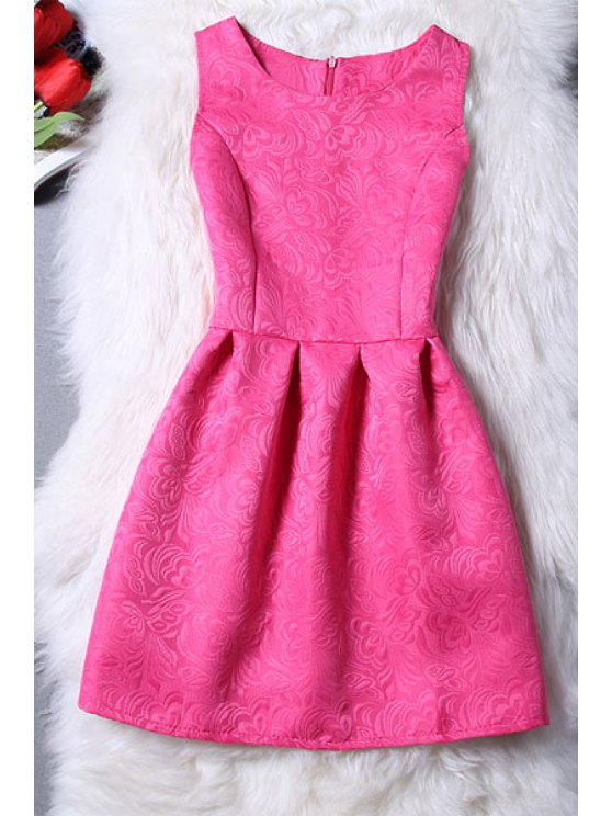 fancy Sleeveless Jacquard Mini Dress - ROSE S