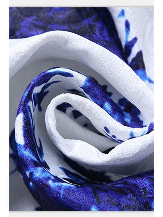 Sleeveless Blue Rose Dress - BLUE AND WHITE M Mobile