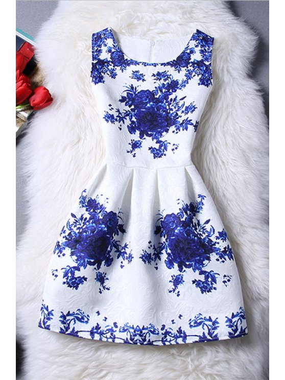 trendy Sleeveless Blue Rose Dress - BLUE AND WHITE M