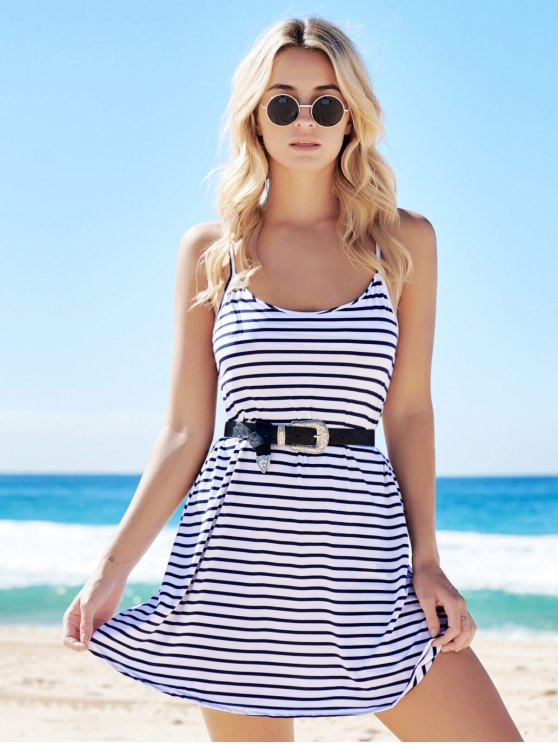 Spaghetti Strap A-Line Striped Dress - BLUE AND WHITE M Mobile