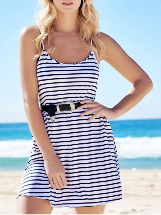 hot Spaghetti Strap A-Line Striped Dress - BLUE AND WHITE L