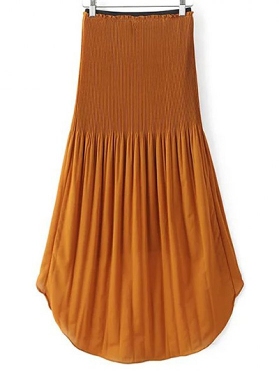 Hi-Lo Pleated Chiffon Skirt - BROWN S Mobile