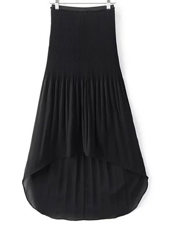 Hi-Lo Pleated Chiffon Skirt - BLACK S Mobile
