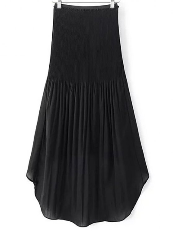 Hi-Lo Pleated Chiffon Skirt - BLACK L Mobile