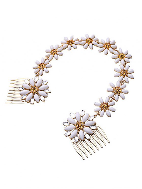 White Daisy Hair Comb - WHITE  Mobile