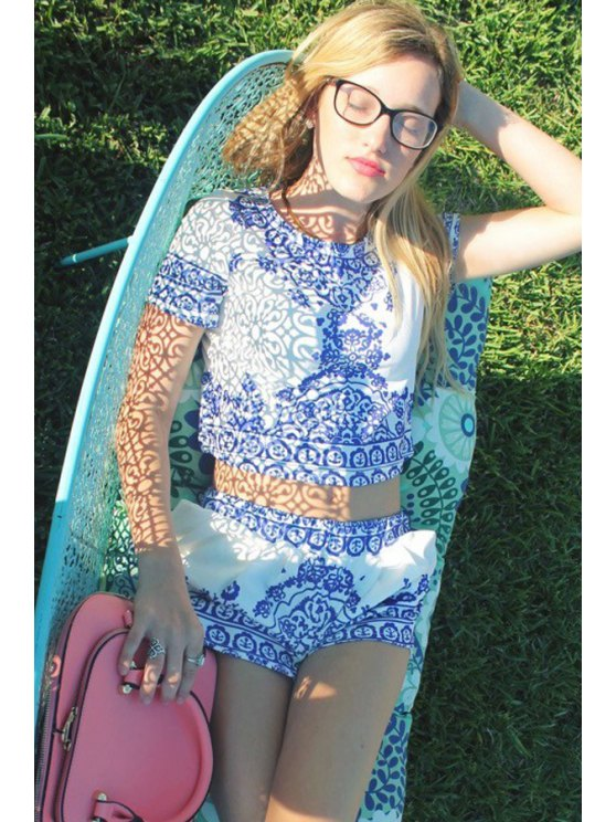 Retro Print Short Sleeve T-Shirt and Shorts Suit - BLUE AND WHITE S Mobile