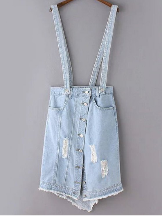 best Ripped Denim Suspender Skirt - LIGHT BLUE L