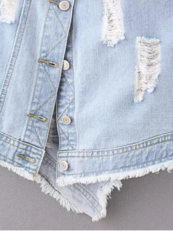 Ripped Denim Suspender Skirt - LIGHT BLUE L Mobile