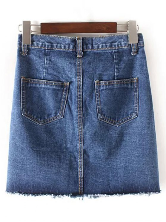 Fringes High Waisted Single-Breasted Denim Skirt - CADETBLUE M Mobile