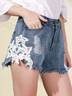 Lace Applique Denim Shorts - Blue L