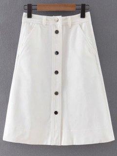 Button Front White Denim Skirt - White S