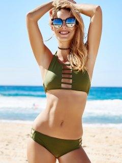 Green High Neck Bikini Set - Green S