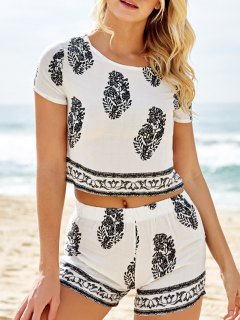 Short Sleeve Crop Top And Leaf Print Shorts Suit - White Xl