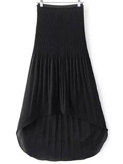 Hi-Lo Pleated Chiffon Skirt - Black S