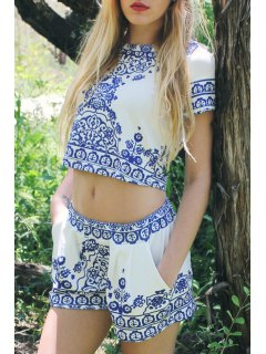 Retro Print Short Sleeve T-Shirt And Shorts Suit - Blue And White L