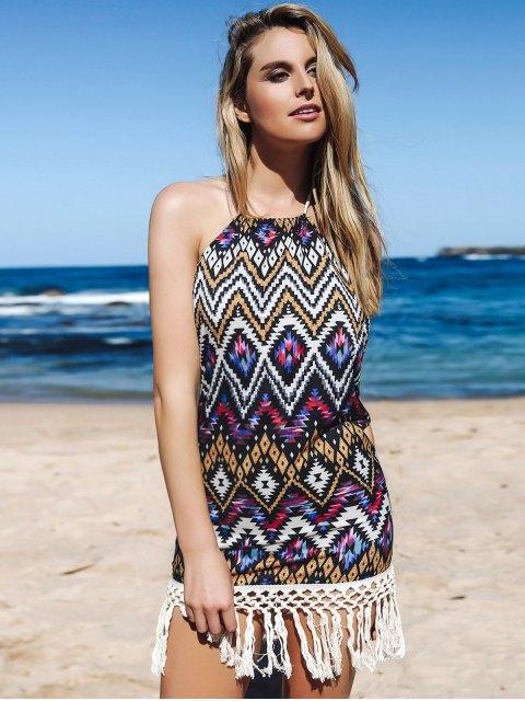 affordable Backless Fringe Geometric Print Halter Sleeeveless Dress - PURPLE XL Mobile