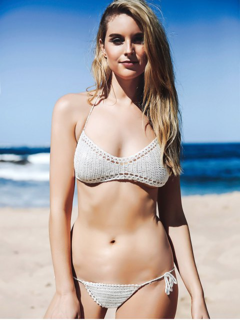 online Halter Knitted White Bikini Set - WHITE ONE SIZE(FIT SIZE XS TO M) Mobile